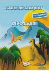 Carte de colorat cu abtibilduri - Dinozauri Carti