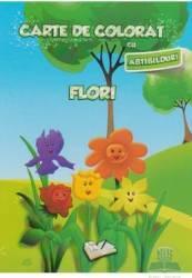 Carte de colorat cu abtibilduri - Flori