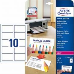 Carton pentru carti de vizita Avery Zweckform 85x54mm 270g/mp Articole and accesorii birou