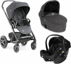 Carucior 3 in 1 Joie Chrome Stroller DLX Pavement Deluxe recomandat copiilor 0-15 kg si varsta 0-3 ani