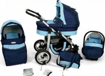 Carucior Copii 3 In 1 Kunert Silver Albastru Deschis Albastru Inchis Carucioare copii