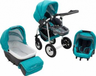 Carucior Copii 3 In 1 MyKids Futuro Turquoise-Negru Carucioare copii