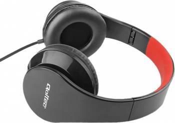 Casti Audio cu Microfon Qoltec Negru/Rosu 50812 Casti telefoane mobile