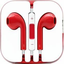 Casti in-ear universale cu microfon iPhone si Samsung Rosu Casti telefoane mobile