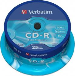 CD-R 700MB 80 min 52X Verbatim 25 buc set Extra Protection CD-uri si DVD-uri
