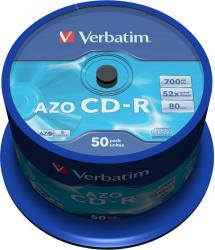 CD-R 700MB 80 min 52X Verbatim 50 buc set AZO Crystal CD-uri si DVD-uri