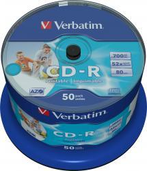 CD-R 700MB 80 min 52X Verbatim 50 buc set Inkjet Printable CD-uri si DVD-uri