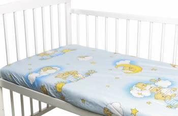 Cearceaf din bumbac cu elastic Ursuletul somnoros Albastru 120x60 cm
