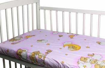Cearceaf din bumbac cu elastic Ursuletul somnoros Roz 120x60 cm Lenjerii si accesorii patut