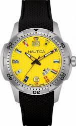Ceas barbatesc Nautica NAI13516G Cadran galben Curea silicon Ceasuri barbatesti