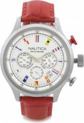 Ceas barbatesc Nautica NAI18515G Cadran alb Curea Piele Ceasuri barbatesti