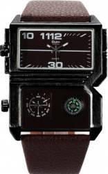 Ceas Oulm Dual-Time 3561 Cu Busola Maron