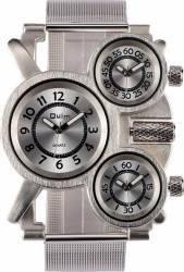 Ceas Oulm Quartz 3-Time Zone 1167, argintiu