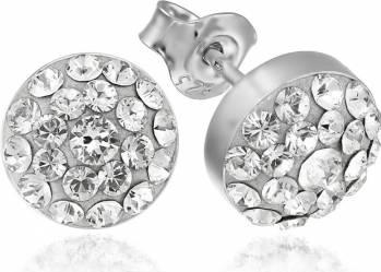 Cercei Argint 925 Placat Cu Rodiu Cu Cristale Swarovski Chaton Round 8mm Crystal Clear Surub