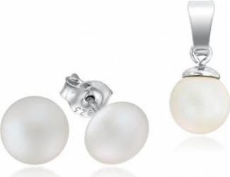 Set Cercei + Lant Argint 925 Placat Cu Rodiu Cu Cristale Swarovski Pearl 8mm Pearlescent White Surub