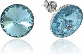 Cercei Argint 925 placat cu rodiu cu cristale Swarovski Rivoli Blue Capri Shine 12mm Surub Cercei