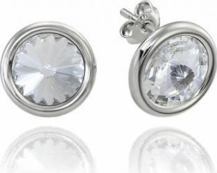 Cercei Argint 925 placat cu rodiu cu cristale Swarovski Rivoli Crystal Clear 8mm Surub Buza Cercei