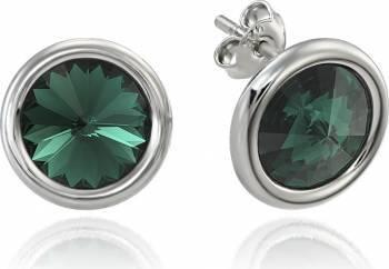 Cercei Argint 925 placat cu rodiu cu cristale Swarovski Rivoli Emerald 8mm Surub Buza Cercei