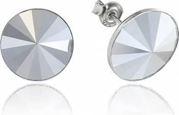 Cercei Argint 925 placat cu rodiu cu cristale Swarovski Rivoli Light Chrome 12mm Surub Cercei