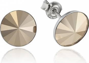 Cercei Argint 925 placat cu rodiu cu cristale Swarovski Rivoli Metalic Glod 8mm Surub Cercei
