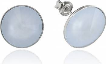 Cercei Argint 925 placat cu rodiu cu cristale Swarovski Rivoli Powder Blue 12mm Surub Cercei