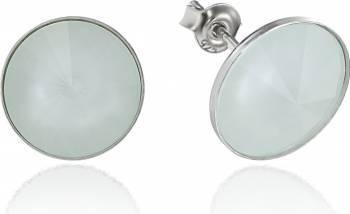 Cercei Argint 925 placat cu rodiu cu cristale Swarovski Rivoli Powder Green 12mm Surub Cercei