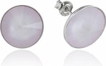 Cercei Argint 925 placat cu rodiu cu cristale Swarovski Rivoli Powder Rose 12mm Surub Cercei
