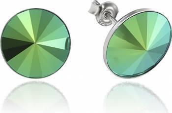 Cercei Argint 925 placat cu rodiu cu cristale Swarovski Rivoli Scarabeus Green 12mm Surub Cercei