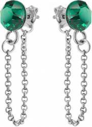 Cercei Argint 925 placat cu rodiu cu cristale Swarovski Xirius Chain 6mm Emerald cercei