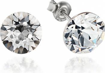 Cercei Argint 925 placat cu rodiu cu cristale Swarovski Xirius Crystal Clear 8mm Surub Cercei