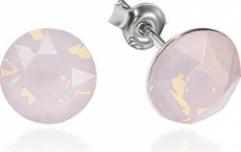 Cercei Argint 925 placat cu rodiu cu cristale Swarovski Xirius Opal Rose 8mm Surub Cercei