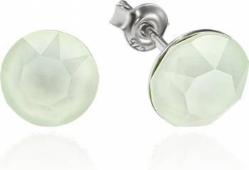 Cercei Argint 925 placat cu rodiu cu cristale Swarovski Xirius Powder Green 8mm Surub Cercei