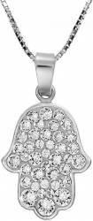 Colier Argint 925 placat cu rodiu cu Cristale Swarovski Chaton Hamsa 18mm Crystal Clear Lanturi si Coliere
