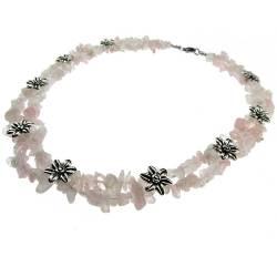 Colier statement cuart roz cu insertii flori GlamBazaar Lanturi si Coliere
