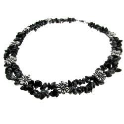 Colier statement obsidian fulg de nea cu flori GlamBazaar Lanturi si Coliere