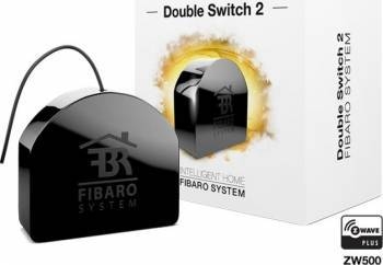 Comutator Fibaro Dual 2x 1.5kW Negru Kit Smart Home si senzori