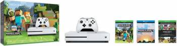 Consola MICROSOFT Xbox One Slim 500 GB, alb + Joc Minecraft Favourites Console jocuri