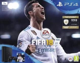 Consola Sony Playstation 4 1TB Slim Black + FIFA 2018+ Abonament PS 14 Zile Console jocuri