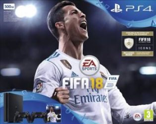 Consola Sony Playstation 4 500GB Slim Black + FIFA 2018 + Extra Controller++ Abonament PS 14 Zile Console jocuri