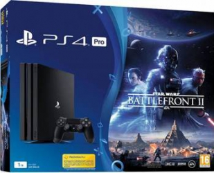 Consola Sony PlayStation 4 Pro 1TB Black + Star Wars Battlefront II Console jocuri