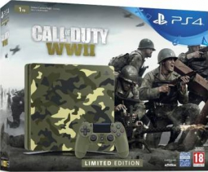 Consola Sony PlayStation 4 Slim 1TB + Call of Duty WW2 Green Camouflage Limited Edition Console jocuri