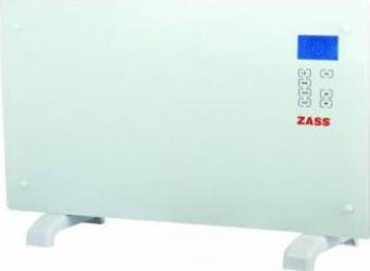 Convector electric de podea Zass ZKG 01, 2000 W, Suprafata de sticla, Touch screen, Afisaj LCD, 3 functii, Montare pe pe Aparate de incalzire