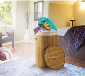 Cos de rufe rotund din bambus D:40xH:60cm Hartie igienica si Accesorii baie