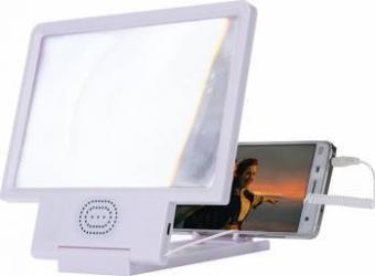 Dispozitiv pentru marirea imaginii telefonului mobil cu difuzor Cronos F8 alb Accesorii Diverse Telefoane