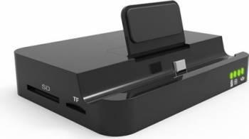 Dock Incarcare Card reader Type-c 4K HDTV HDMI cu 2 porturi USB 3.0 si Type-c mama Negru Dock