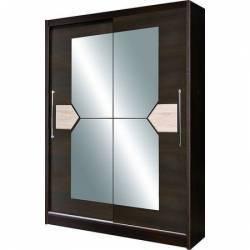 Dulap cu usi glisante si oglinda 216 x 150 x 58 cm Wenge D-02-15 Sifoniere si dulapuri