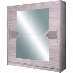 Dulap cu usi glisante si oglinda 216 x 200 x 58 cm Cappucino D-04-20 Sifoniere si dulapuri