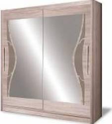 Dulap cu usi glisante si oglinda 216 x 200 x 58 cm Cappucino D-06-20 Sifoniere si dulapuri