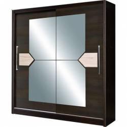 Dulap cu usi glisante si oglinda 216 x 200 x 58 cm Wenge D-02-20 Sifoniere si dulapuri