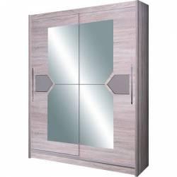 Dulap cu usi glisante si oglinda D-04-15 150 x 216 x 58 cm Cappucino Sifoniere si dulapuri